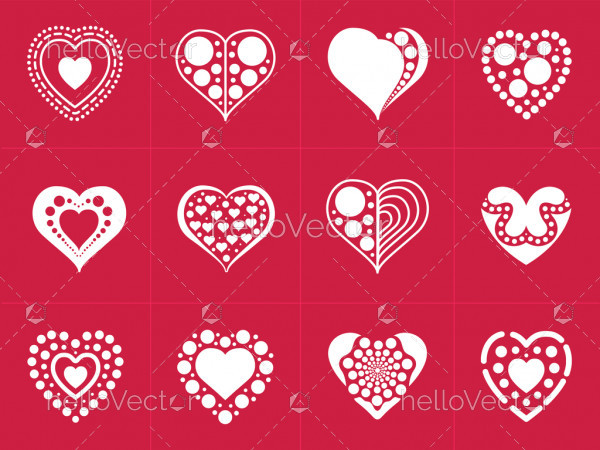 Heart icons collection in trendy flat style isolated on red background.