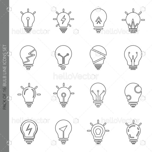 Light bulb icons collection in modern thin line style isolated on white background.