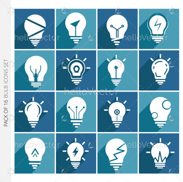 Light bulb icons collection with shadow in trendy flat style isolated on colorful background.