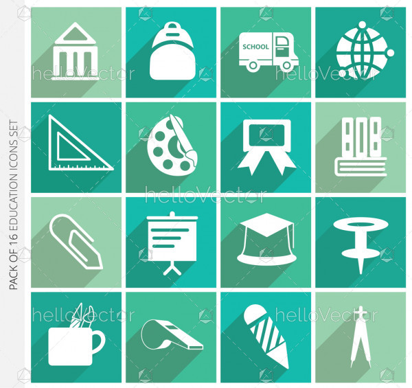 Education icons collection with shadow in trendy flat style isolated on colorful background.