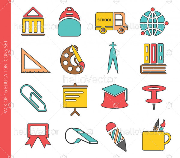Education colored icons collection in trendy flat style isolated on white background.