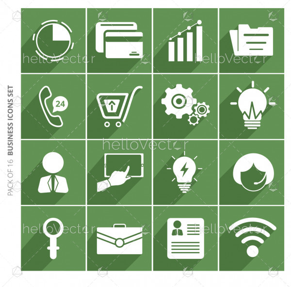 Business icons set with shadow in trendy flat style isolated on color background.