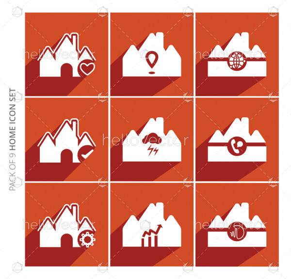 Home icons set with shadow in trendy flat style isolated on color background.