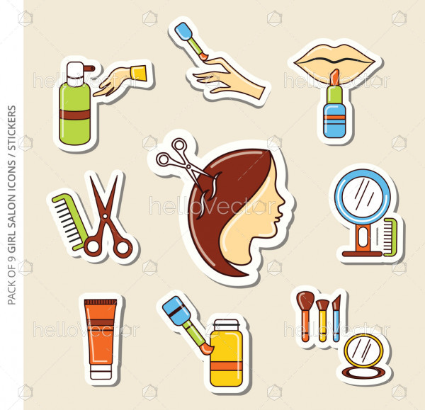 Salon icons/stickers set of girls with shadow in trendy flat style.