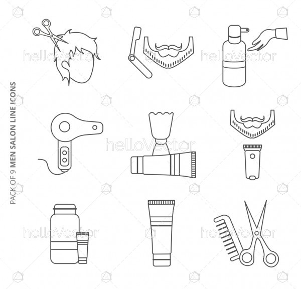 Collection of vector line icons set for men salon.