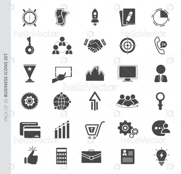 Business icons set in trendy flat style isolated on white background.