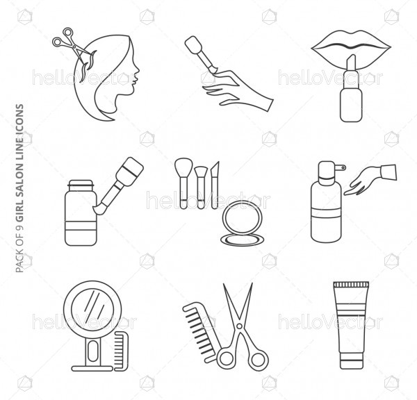 Collection of vector line icons set for girls salon.
