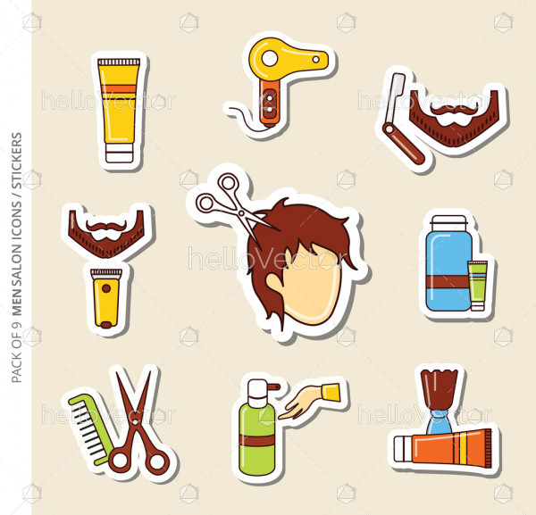 Salon icons/stickers set of men with shadow in trendy flat style.