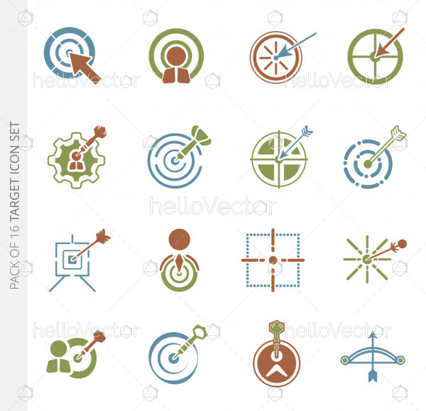 Set of 16 different vector target colored icons