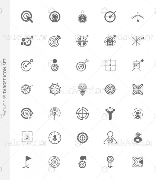 Set of 35 different vector target icons