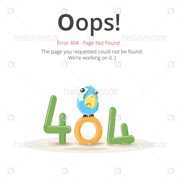 Error 404 page layout vector design