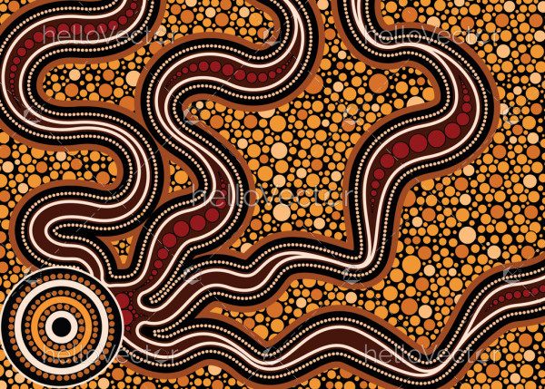Aboriginal dot art vector painting. Connection concept