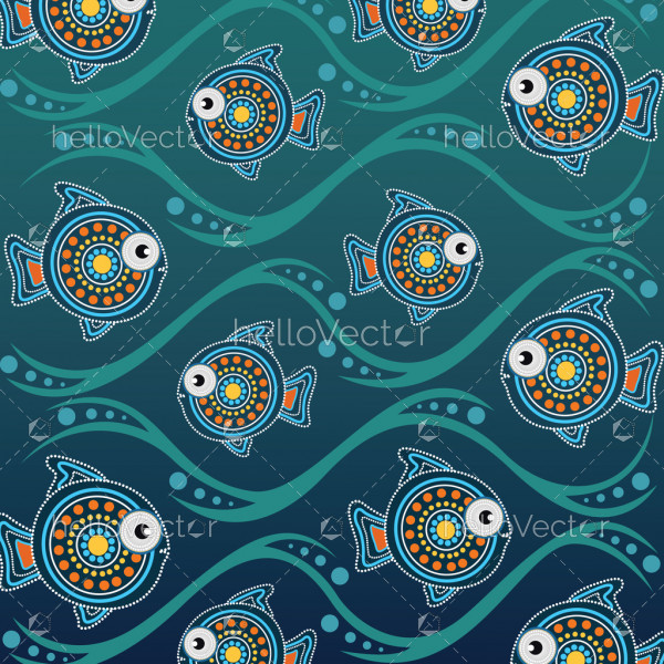 Dot art landscape vector background with fish.
