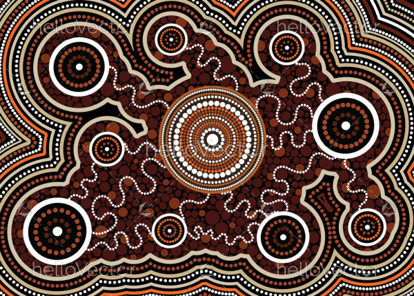 Illustration based on aboriginal style of dot  background. Connection concept