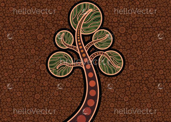 Aboriginal dot art vector painting with tree