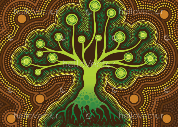Aboriginal dot art vector painting with tree.