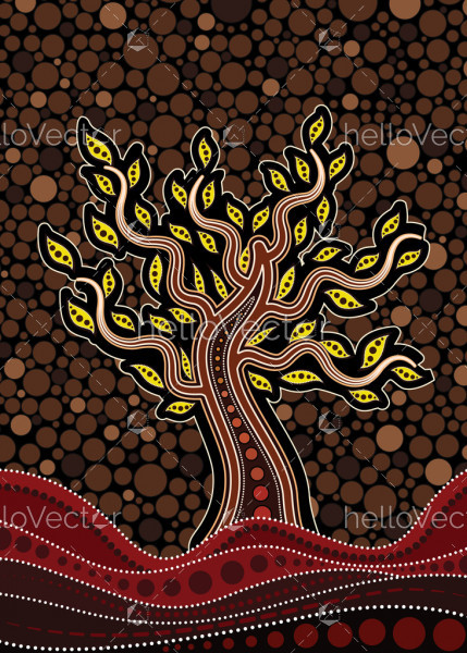 Tree on the hill, Aboriginal tree, Aboriginal art vector painting with tree.