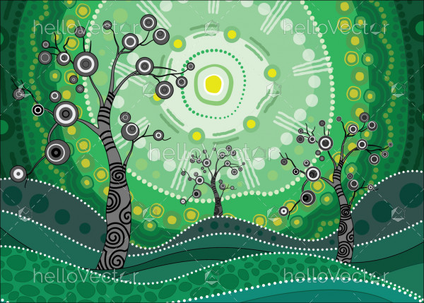 Tree on the hill, Aboriginal tree, Aboriginal art vector painting with tree and sun