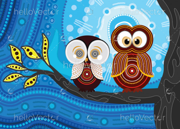 Aboriginal dot art vector painting with owls