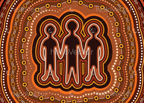 Illustration based on aboriginal style of dot background. Friendship concept