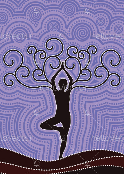 Illustration based on aboriginal style of dot background. Fitness and meditation concept