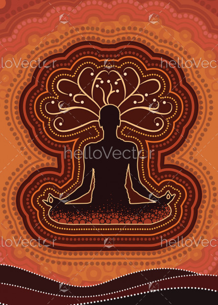 Meditation background vector, Illustration based on aboriginal style of dot background
