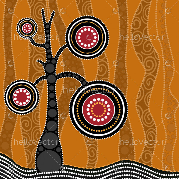 Aboriginal dot art vector painting with tree