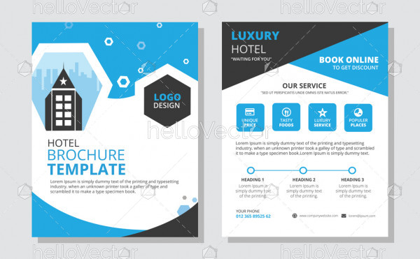 Hotel brochure design vector template.
