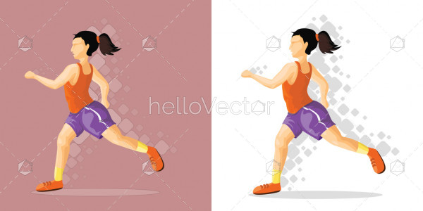 Girl runner - Vector illustration