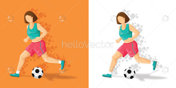 Illustration of sports girl cartoon playing with football - Vector