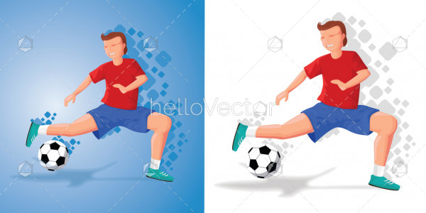 Soccer player kicking ball - Vector Illustration