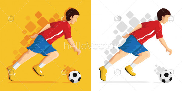 Illustration of boy cartoon playing with football - Vector