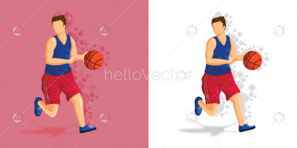 Basketball player Illustration with ball - Sports concept
