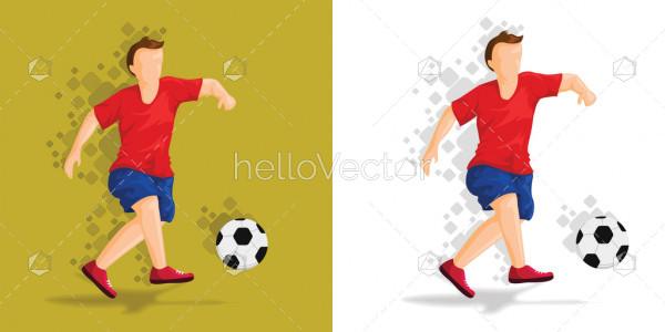Soccer player kicking ball - Vector Illustration