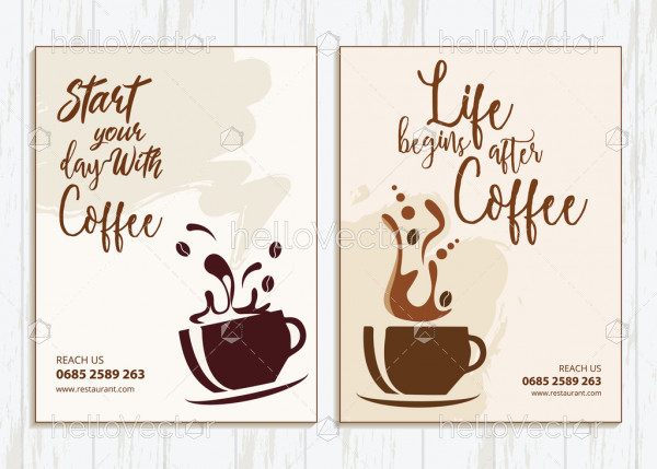 Coffee shop flyer templates design with graphics and text.