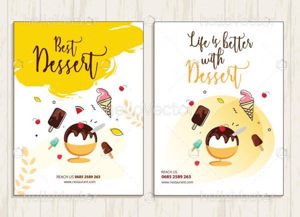 Ice-cream shop flyer templates vector design with graphics and text.