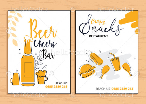 Restaurant flyer templates vector design with graphics and text.
