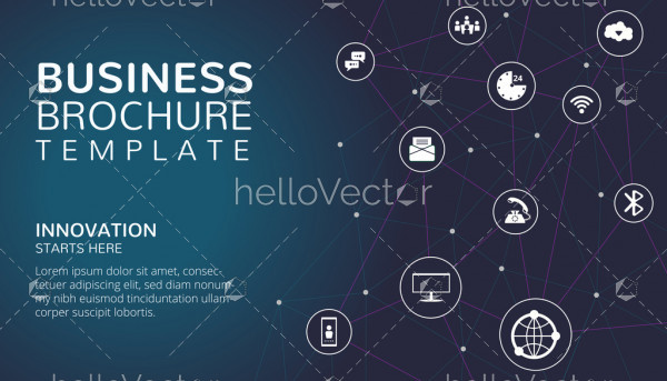 Business brochure template with text and icons - Vector illustration