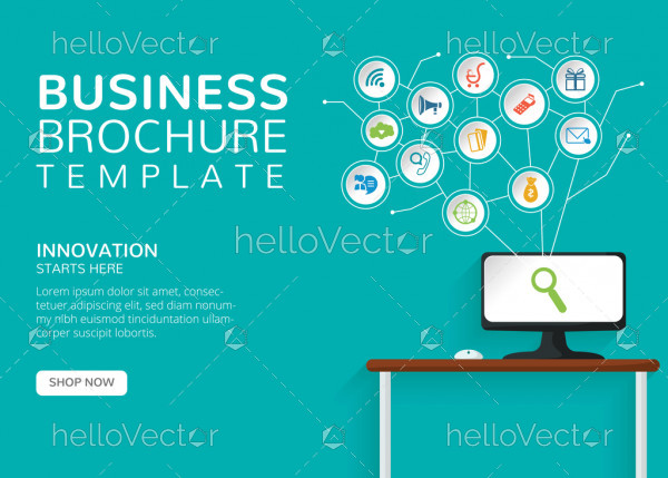 Business brochure template with text and colurful icons - Vector illustration