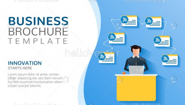 Business brochure template with text - Vector illustration