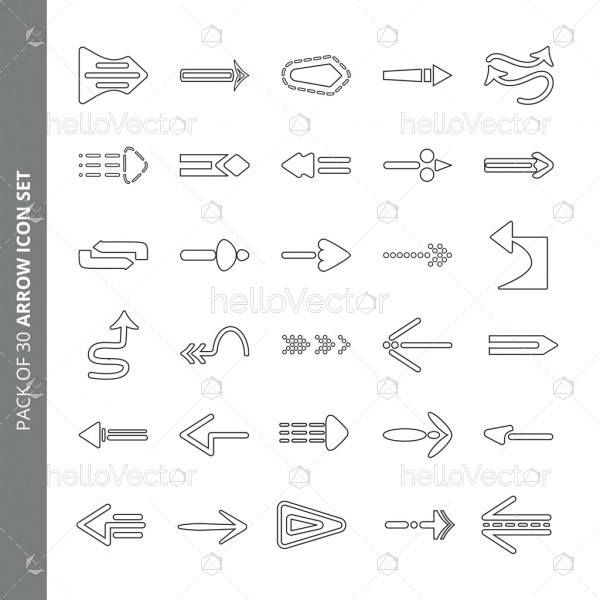 Pack of 30 different arrow icon set vector