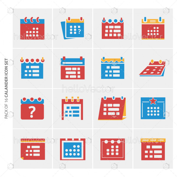 Calendar flat icons set for website and mobile app.