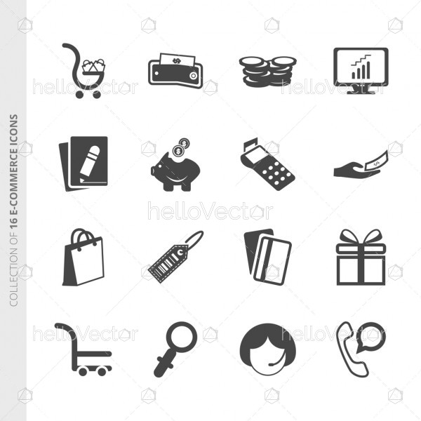 E commerce flat icons set for website and mobile app