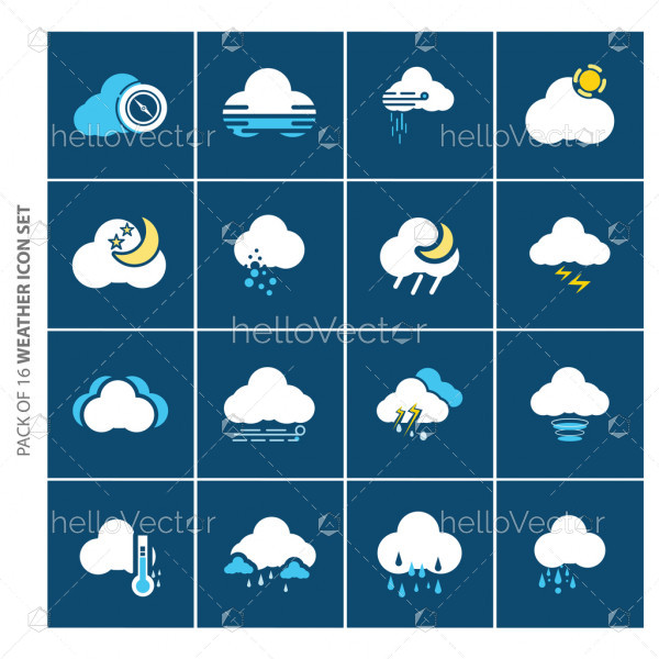 Weather forecast flat icons set for website and mobile app.