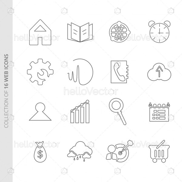 Web flat icons set for website and mobile app.