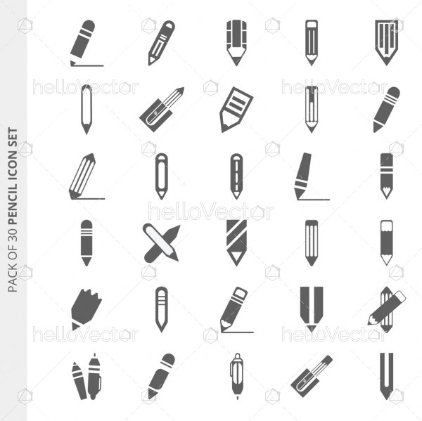 Pack of 30 different vector pencil icons