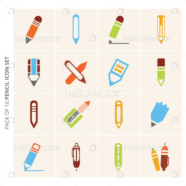 Set of 16 different vector pencil colored icons