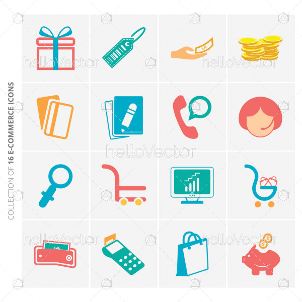 E commerce flat icons set for website and mobile app.