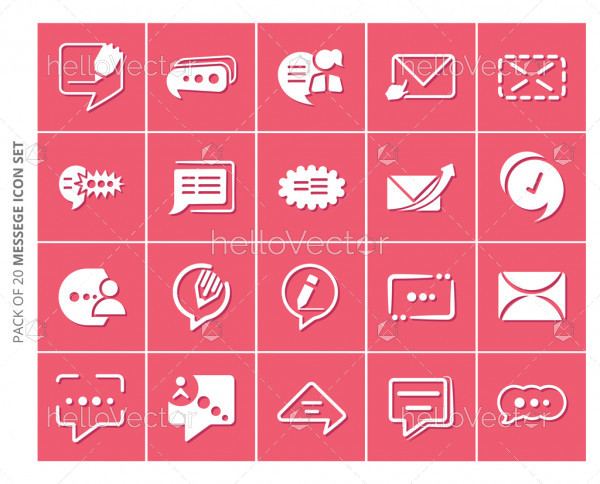 Chat flat icons set for website and mobile app.
