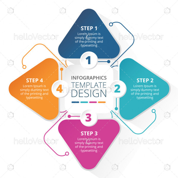 4 steps business process infographic template design - Vector Illustration